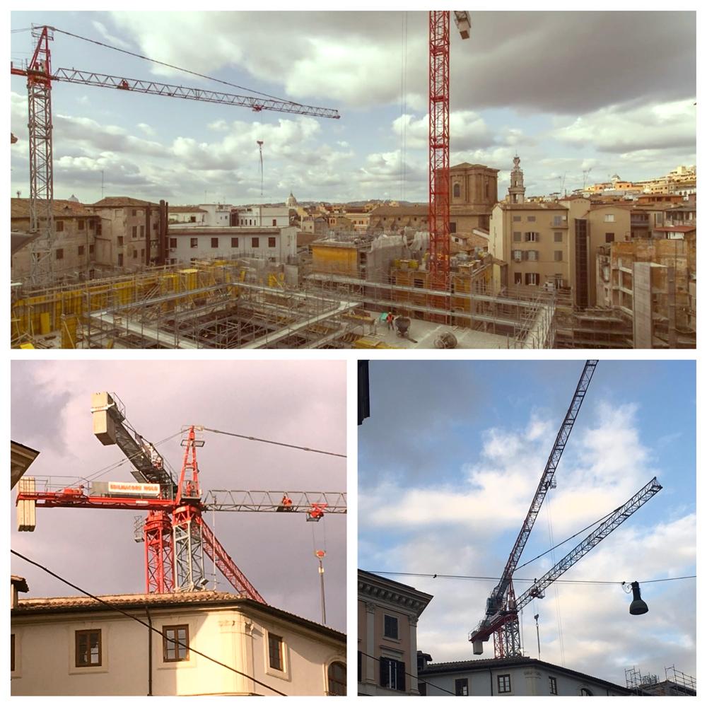 La Rinascente in Via del Tritone – Roma – Gru a torre Saez mod. S65 e Gru a torre Saez mod. S46